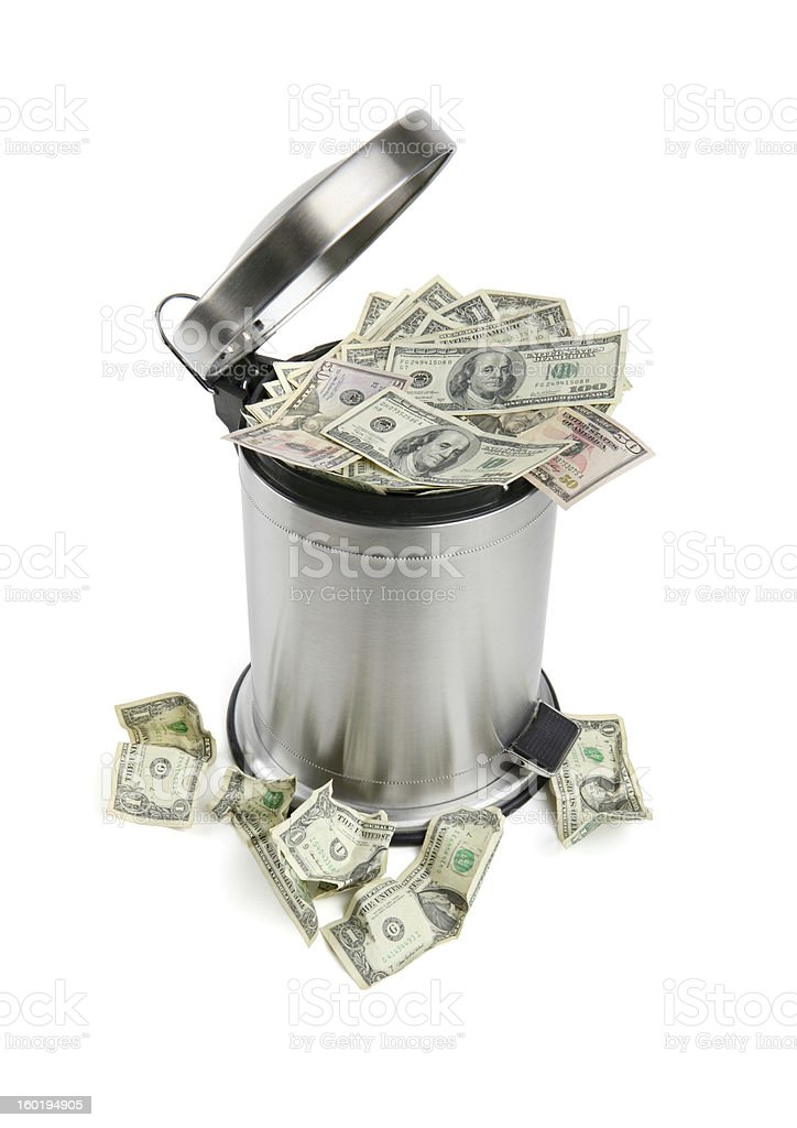 Trash Can and Money with Clipping Path stock photo