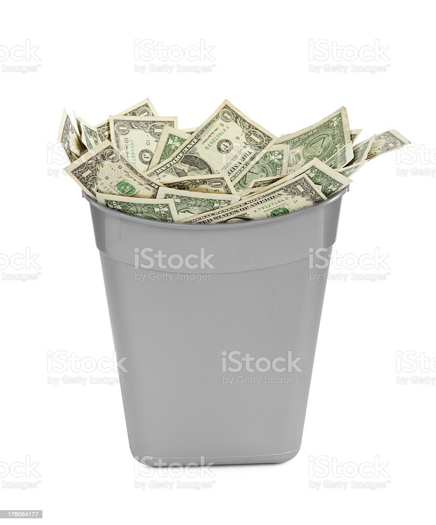 Trash Can Full of Money royalty-free stock photo