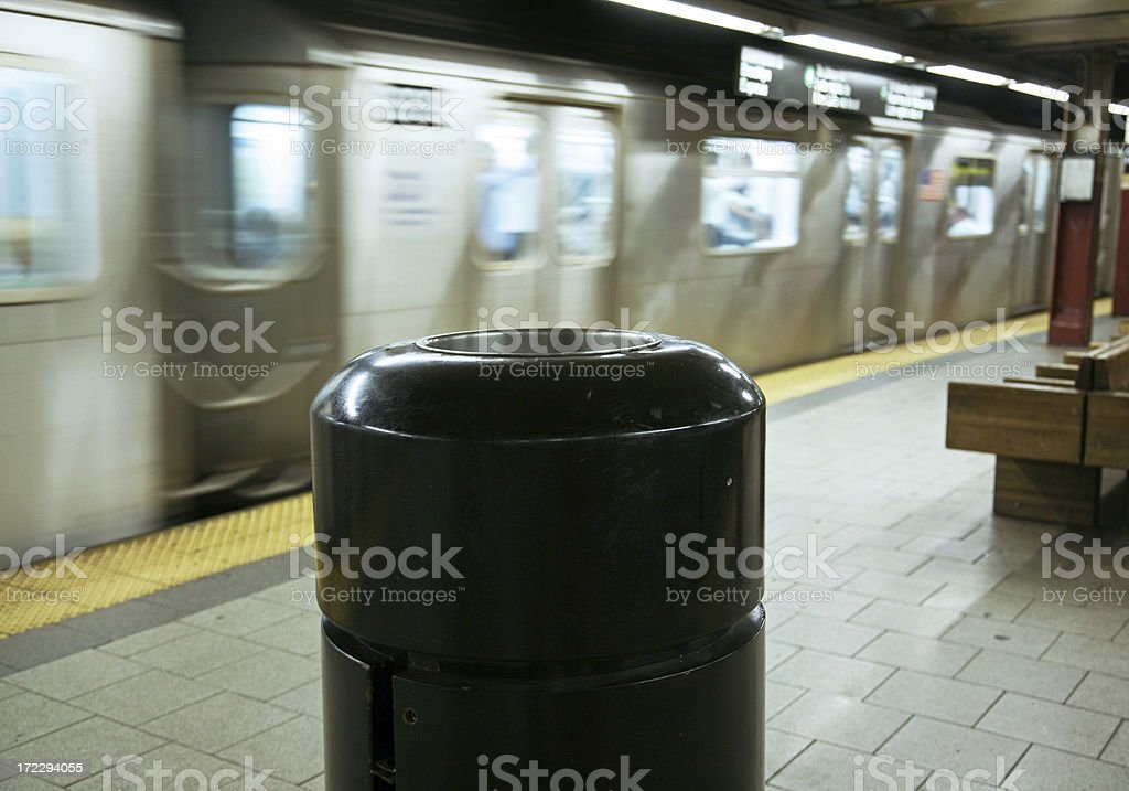 Trash Can In Subway Station royalty-free stock photo