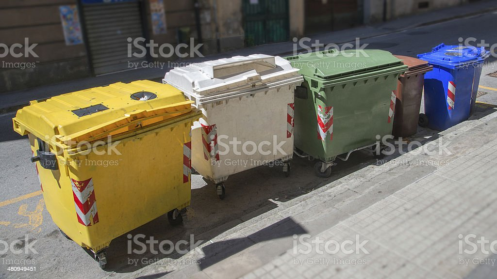 trash cans for garbage separation royalty-free stock photo