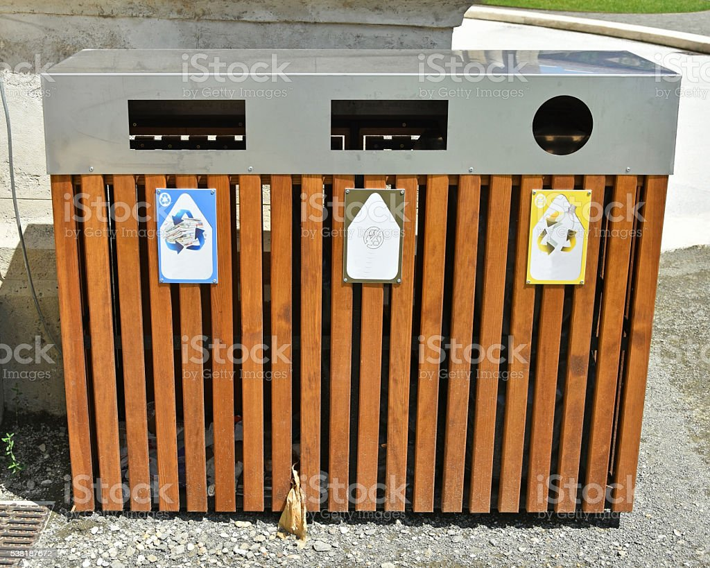 Trash cans for recycling stock photo