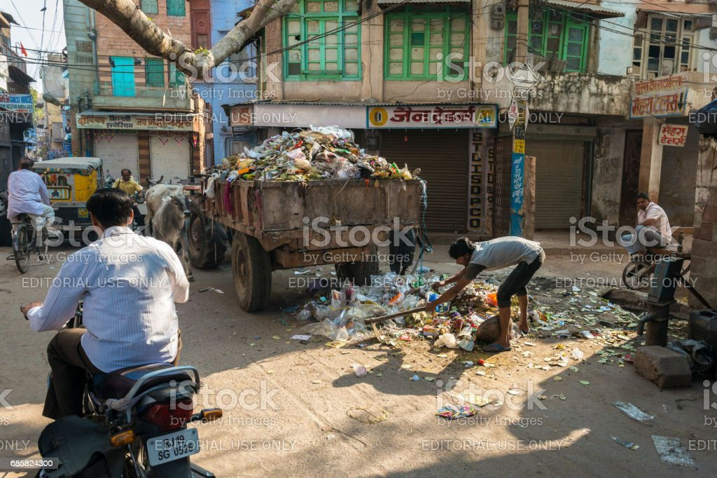 Trash collection in India stock photo