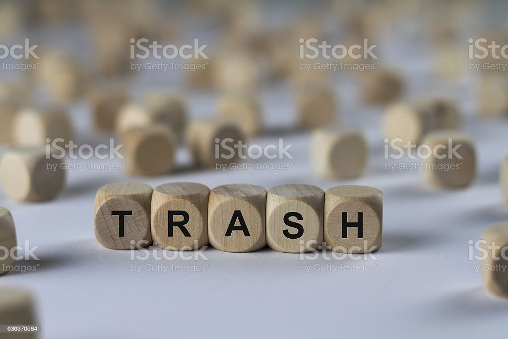 trash - cube with letters, sign with wooden cubes stock photo