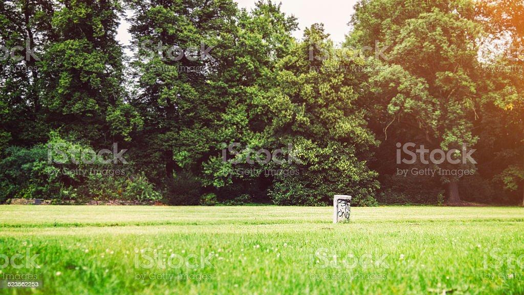 trash in treptower park stock photo