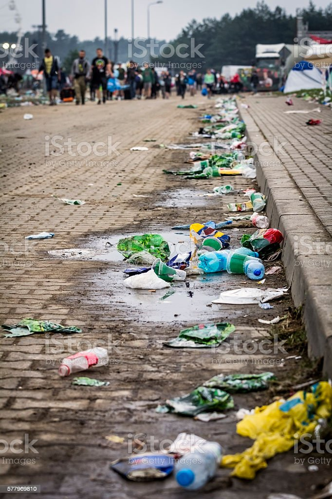 Trash on the street after Woodstock Festival stock photo