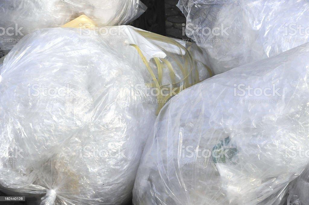 trash plastic bags stock photo