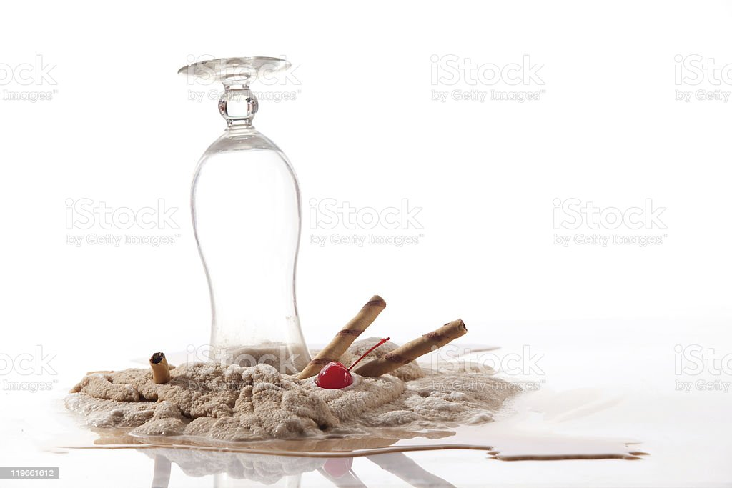 Trash the dessert. Spilled coffee royalty-free stock photo