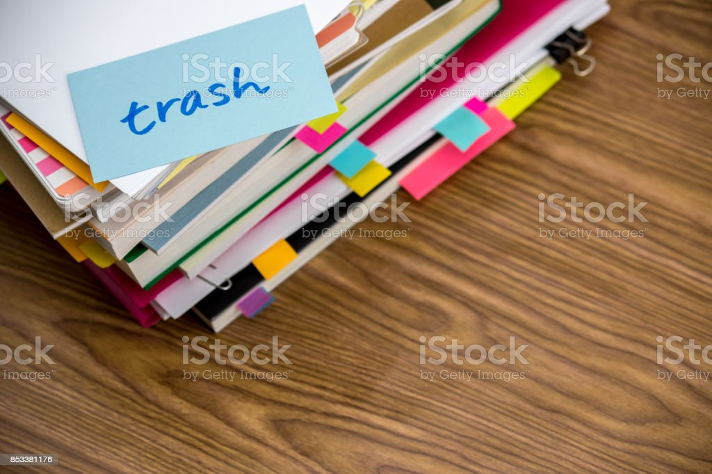 Trash; The Pile of Business Documents on the Desk stock photo