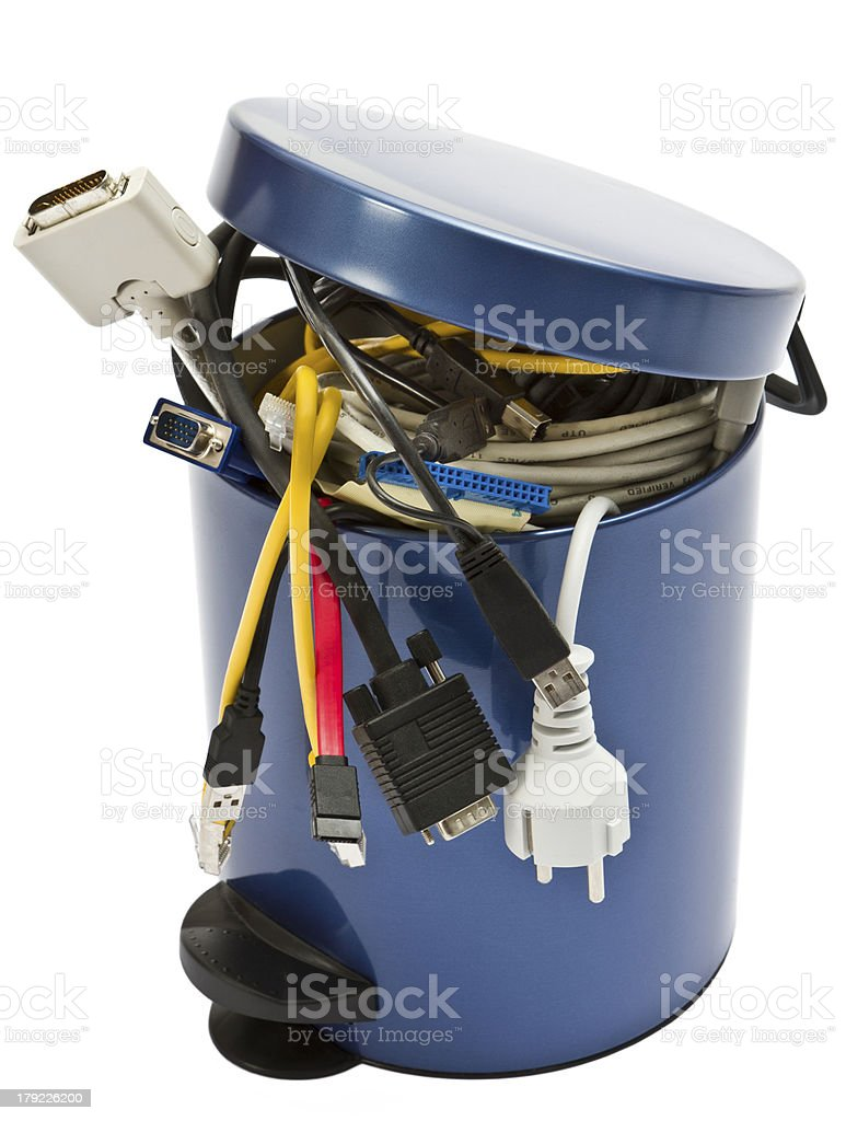 trashcan with electronic waste stock photo