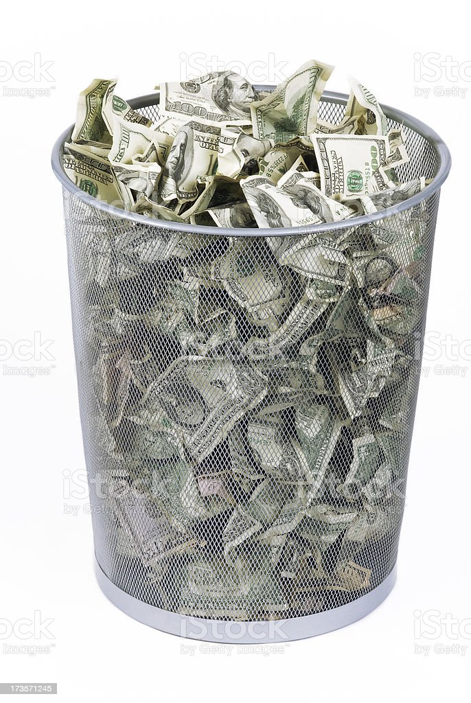 trashed American dollars stock photo