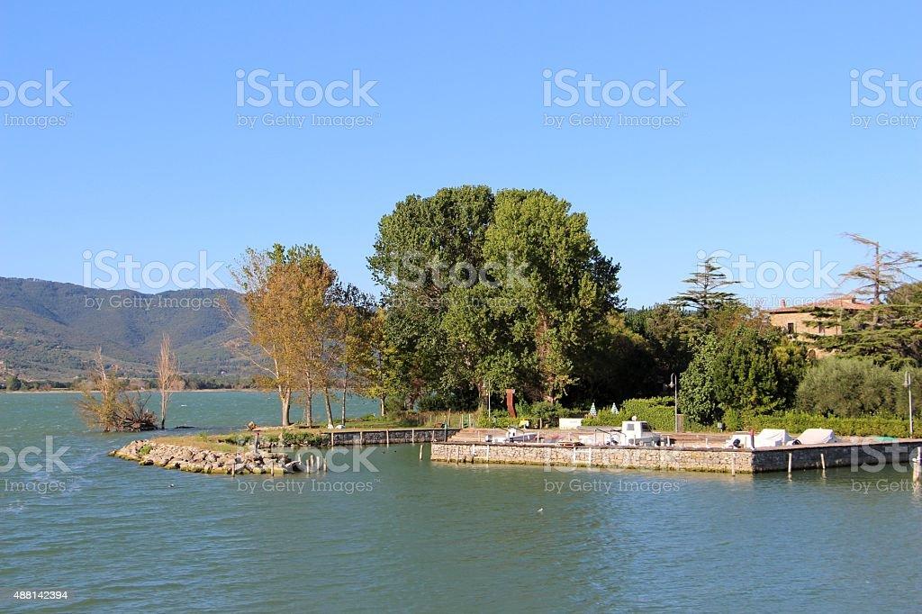 trasimeno lake - harbor of isola maggiore stock photo