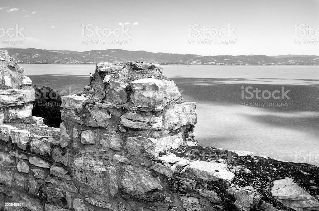 Trasimeno Lake, Umbria. BW image stock photo