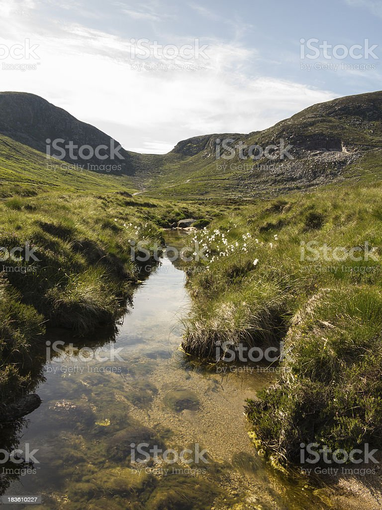 trassey river and hares gap in the mourne mountains stock photo