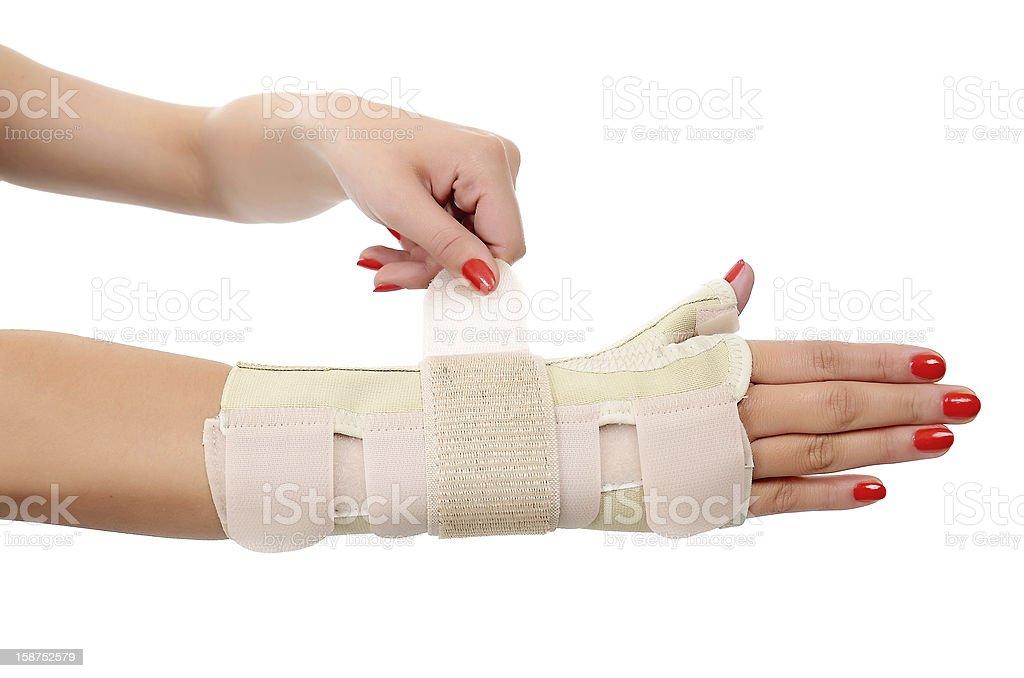Trauma of wrist in brace. royalty-free stock photo