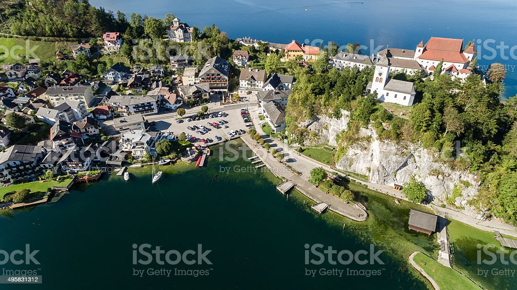 Traunsee lake in Alps mountains, Upper Austria stock photo