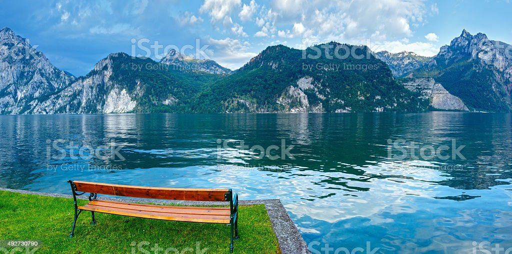 Traunsee summer lake (Austria). stock photo