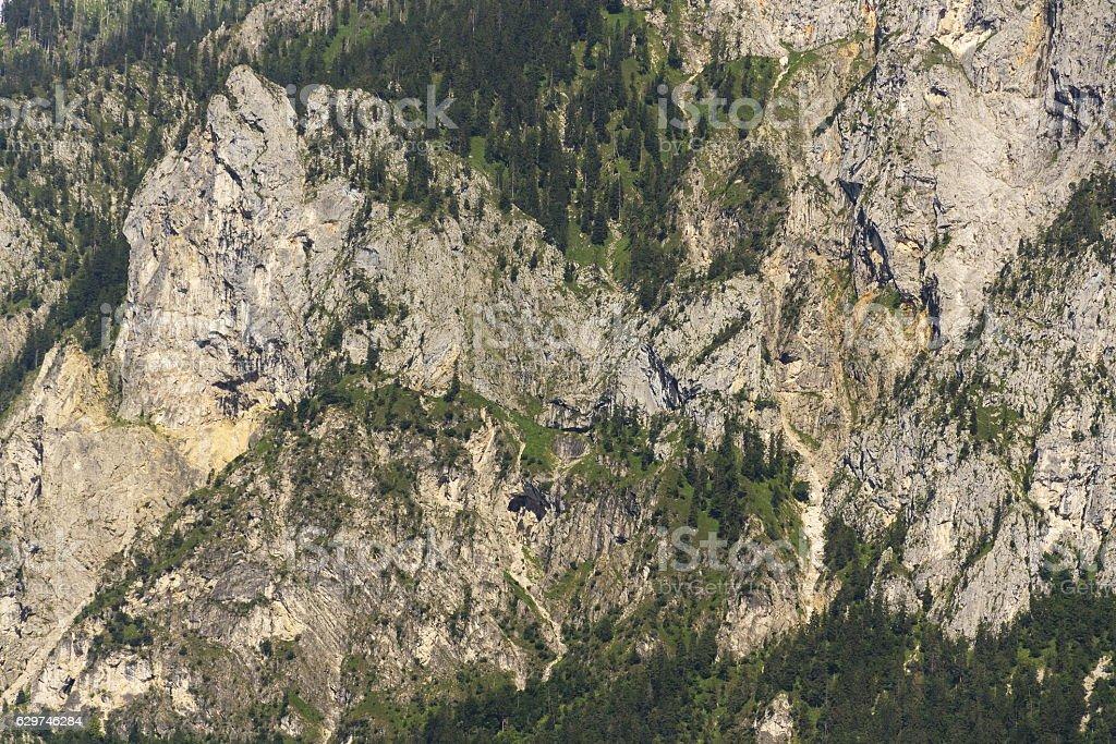 Traunstein Mountain on bank of lake Traunsee in Salzkammergut, Austria stock photo