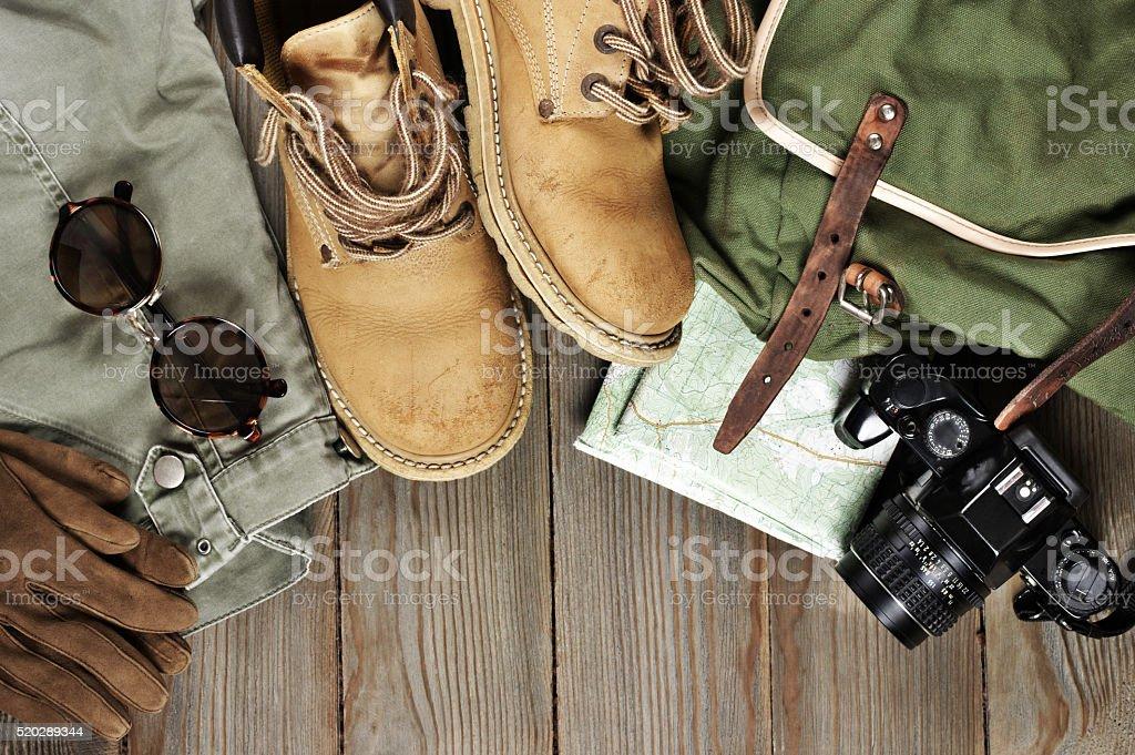 Travel accessories set stock photo