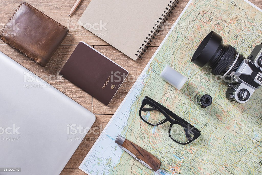 travel accessories wooden stock photo