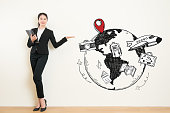 travel agency business woman showing presenting gesture