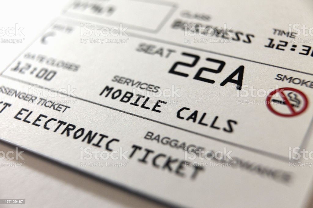 Travel airplane electronic ticket: boarding pass, mobile calls allowed royalty-free stock photo