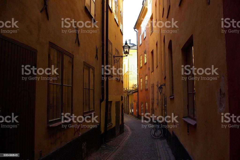 Travel Alleyway with bike stock photo