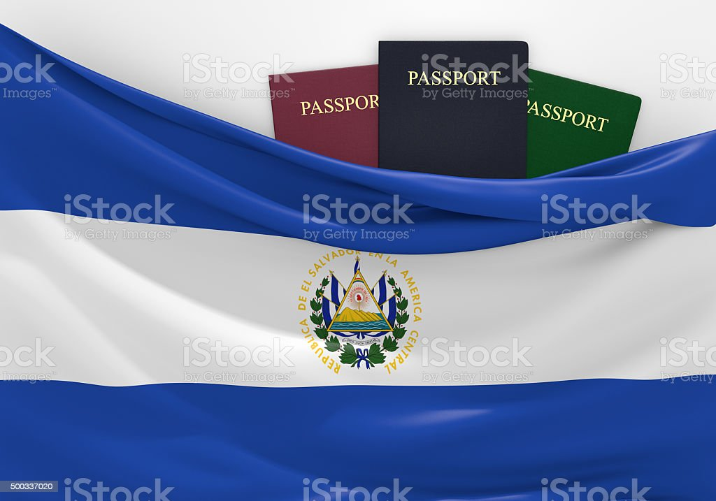 Travel and tourism in El Salvador, with assorted passports stock photo