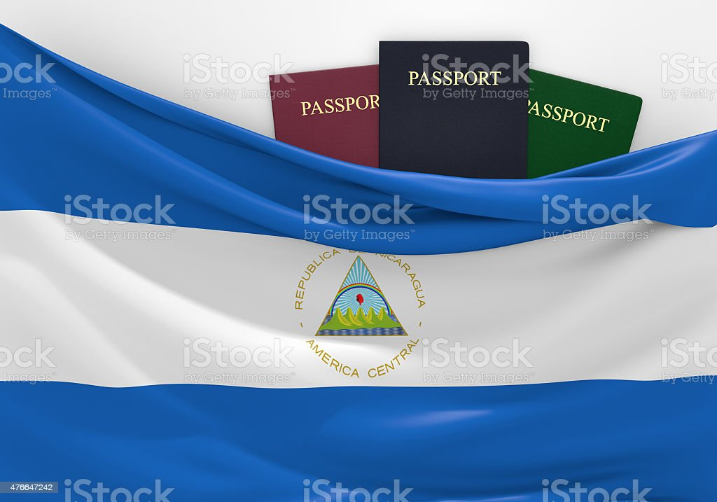 Travel and tourism in Nicaragua, with assorted passports stock photo