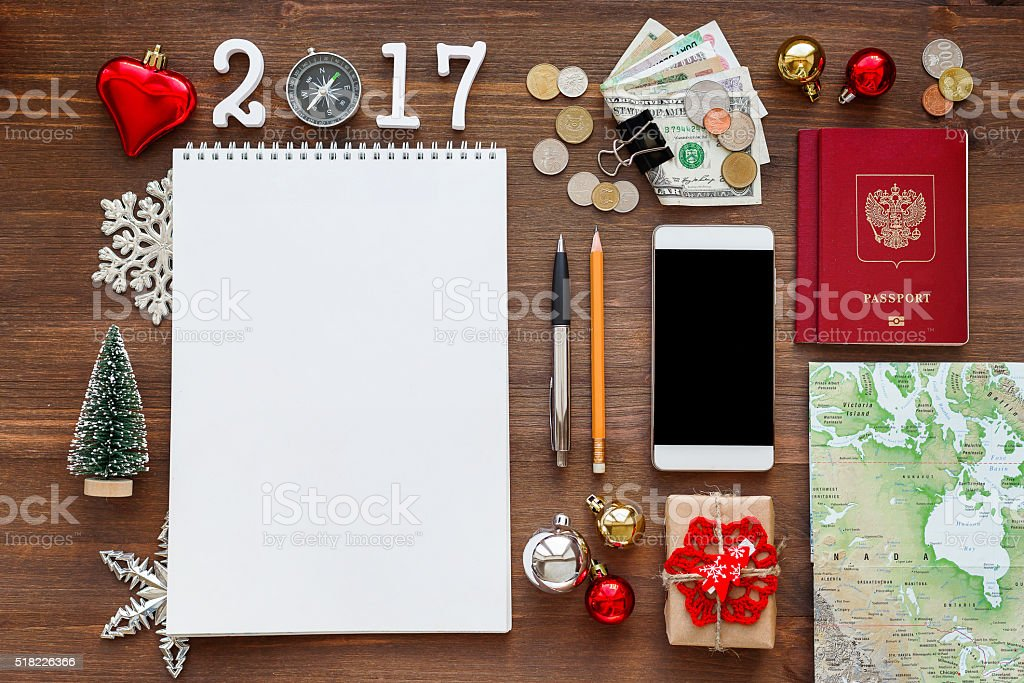 Travel background 2017 year. Planning winter Christmas vacations. stock photo