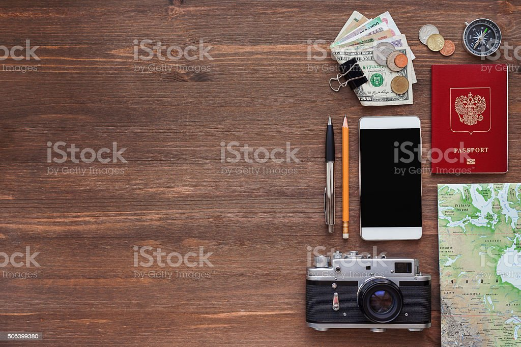 Travel background. Different things you need for journey stock photo