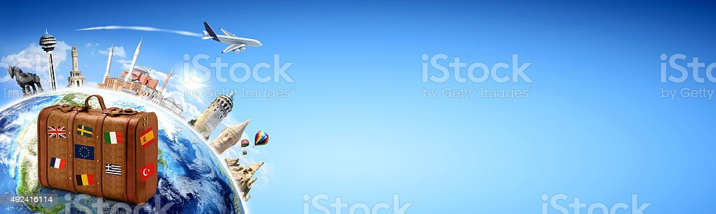 Travel background suitcase with famous places stock photo