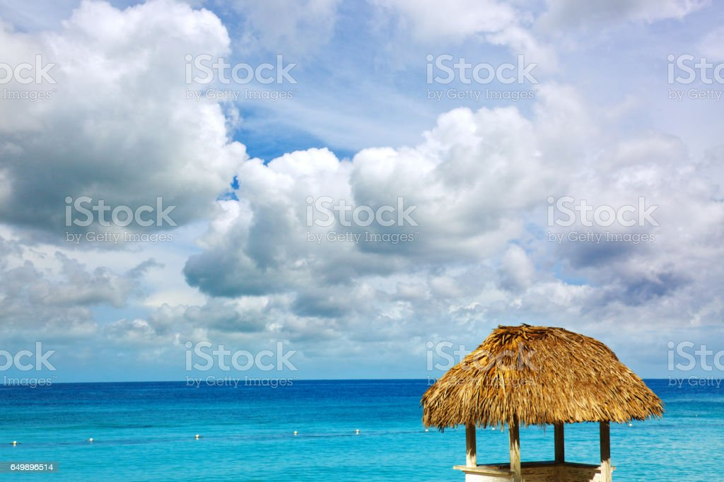 Travel background with straw screen and sky stock photo