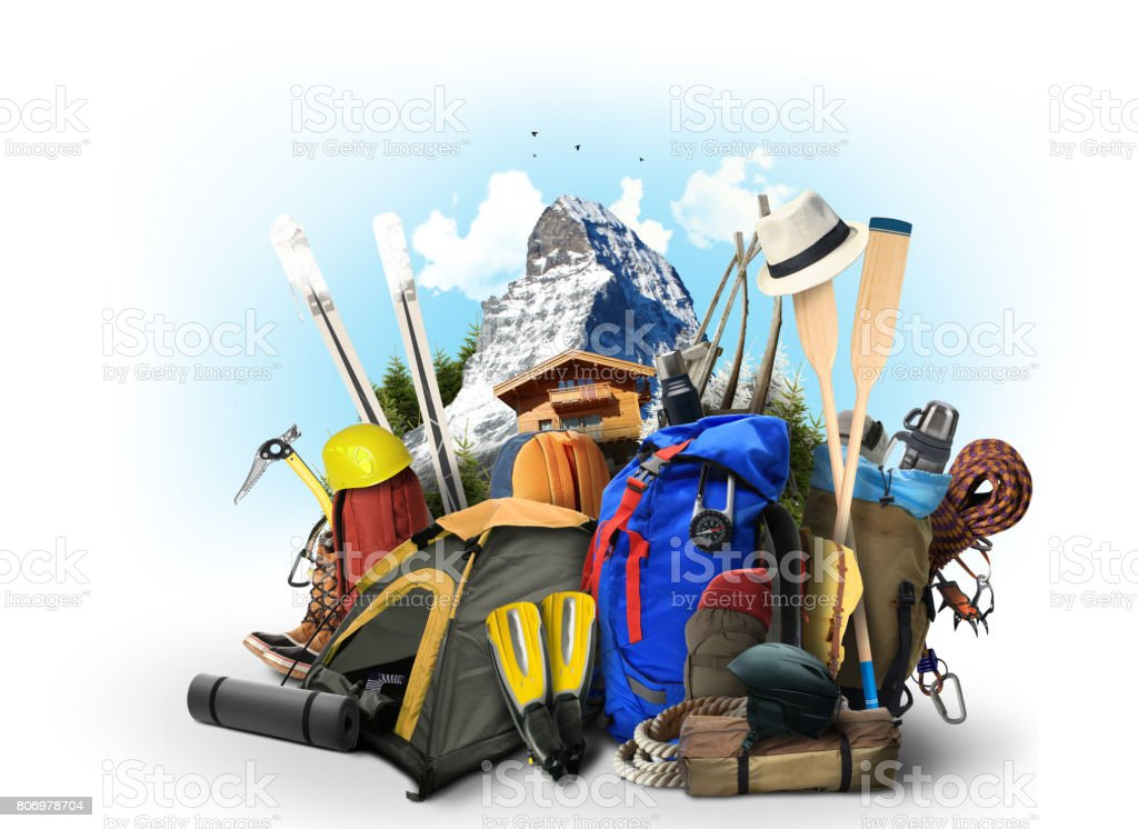 Travel backpacks with climbing equipment stock photo
