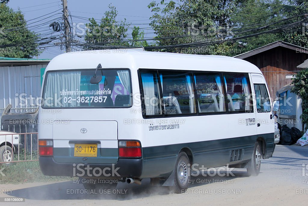 Travel bus of TRAVEX Transport Company stock photo