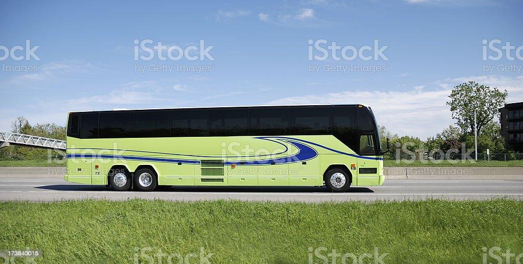 Bus full of tourist on highway.