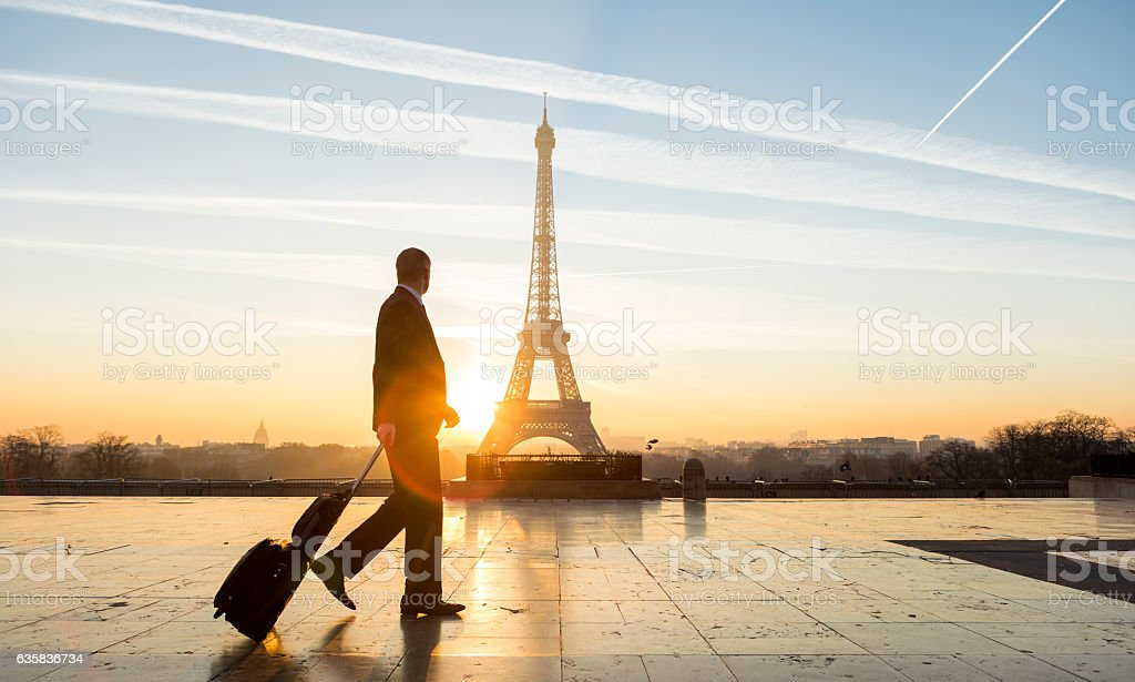 Travel businessman walking with suitcase at Eiffel Tower in Paris stock photo
