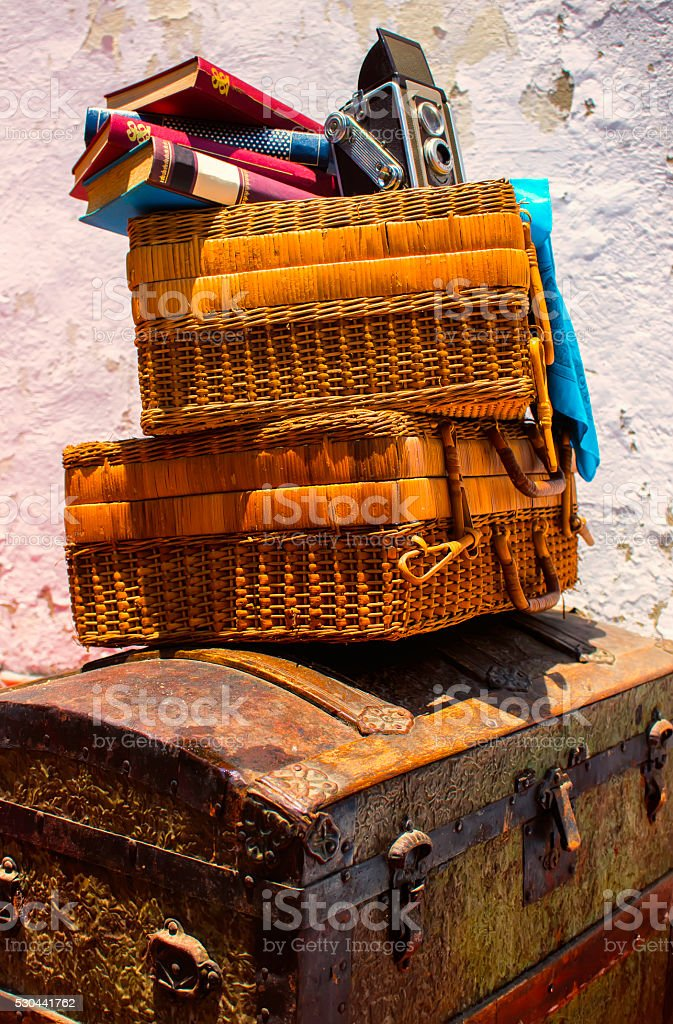 Travel Cases, Camera,  Handkerchief and Books stock photo