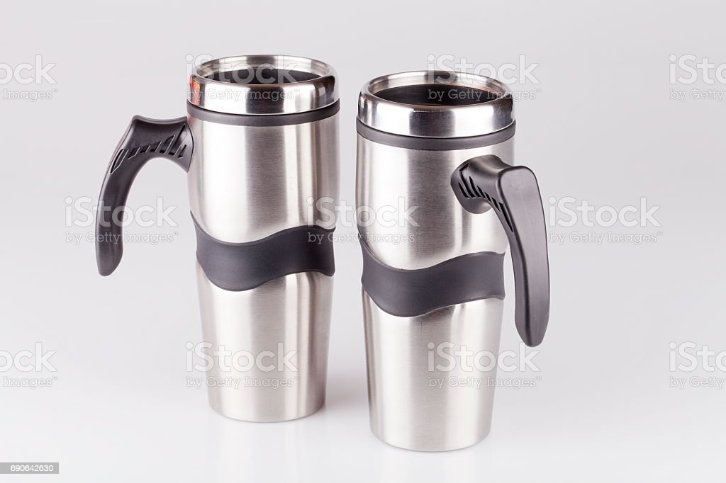 Travel coffee cups stock photo