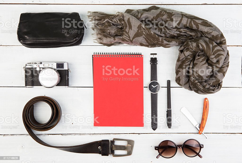 Travel concept - a set of cool men's accessories stock photo