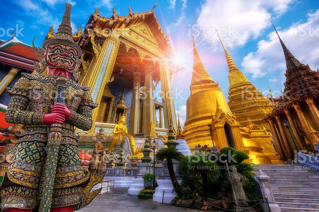 Travel concept, Giant statue at Temple Wat Pra Kaew stock photo