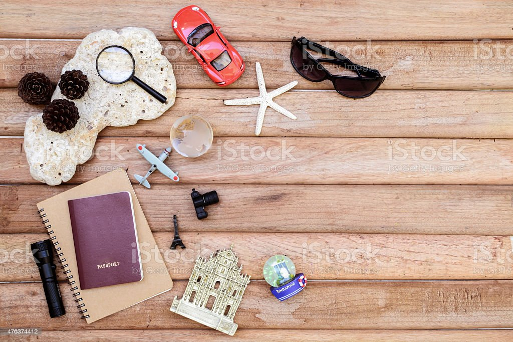 Travel concept on wooden background stock photo