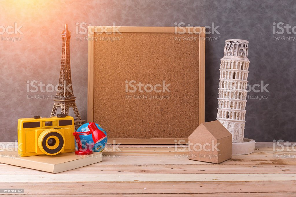 travel concept souvenir with travel stuff stock photo
