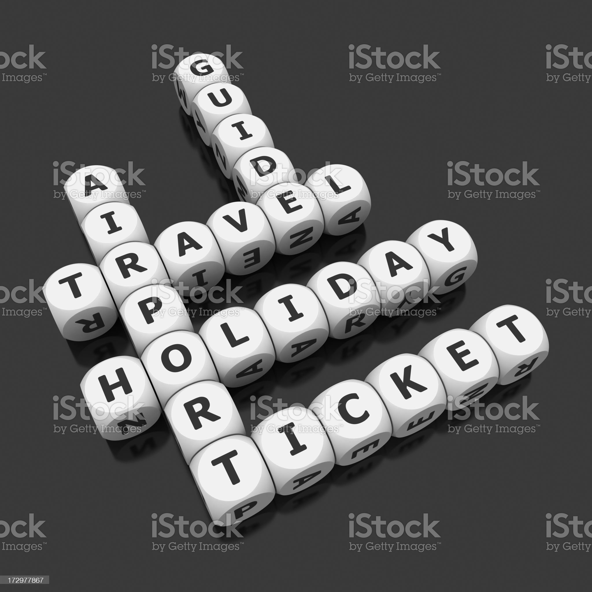 travel crosswords on dices royalty-free stock photo