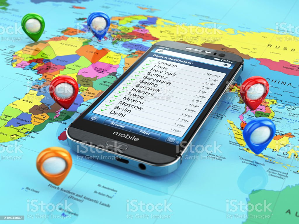 Travel destination and tourism concept. Smartphone on world map stock photo