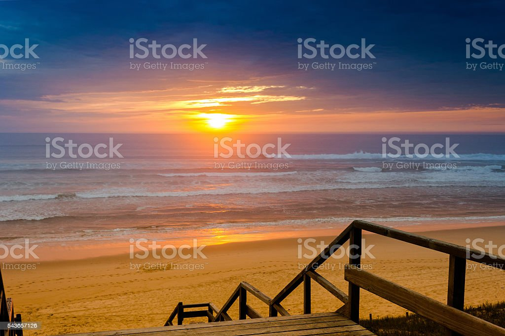 Travel destination: Cote d'Argent, beach of Mimizan Plage with sunset stock photo