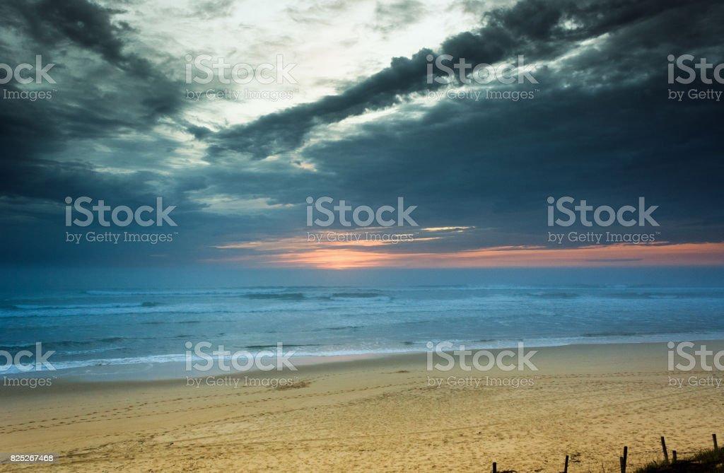 Travel destination - Cote d'Argent, beach of Mimizan Plage with sunset stock photo
