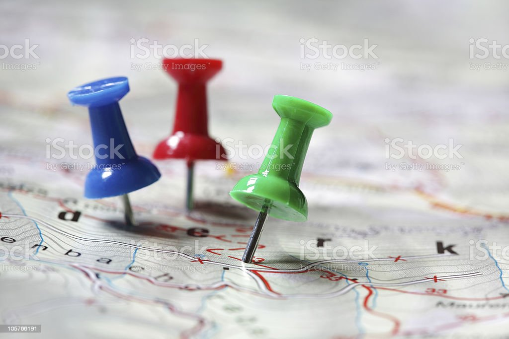 Travel destination marked with pushpins stock photo