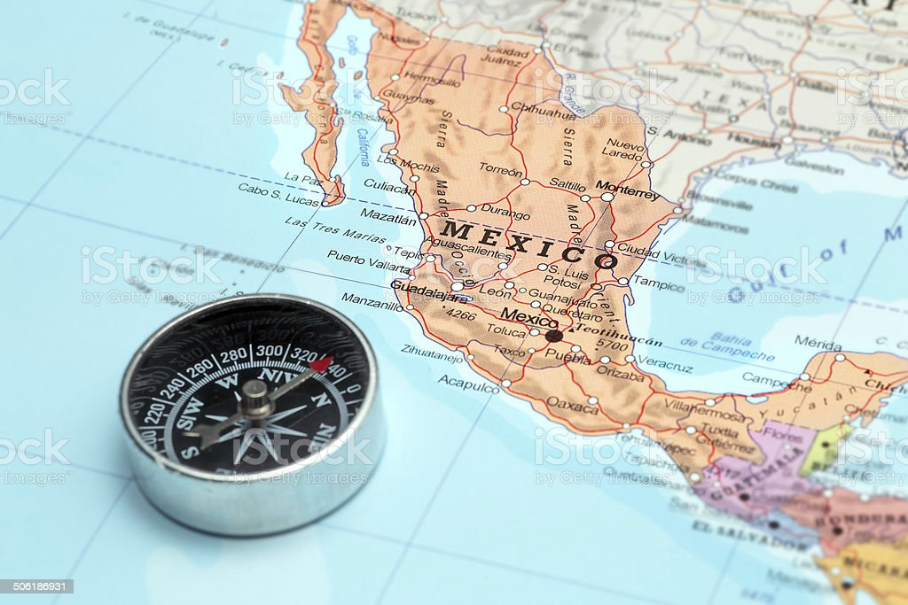 Travel Destination Mexico Map With Compass stock photo 506186931 – Mexico Travel Destinations Map