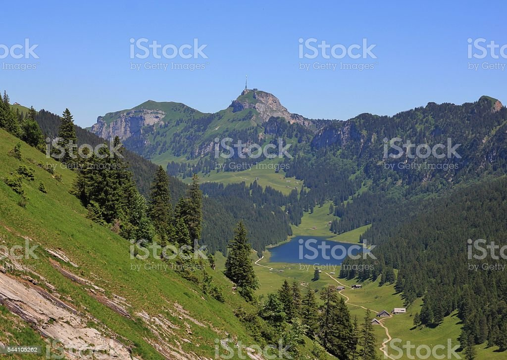 Travel destination Mt Hoher Kasten and Samtisersee stock photo