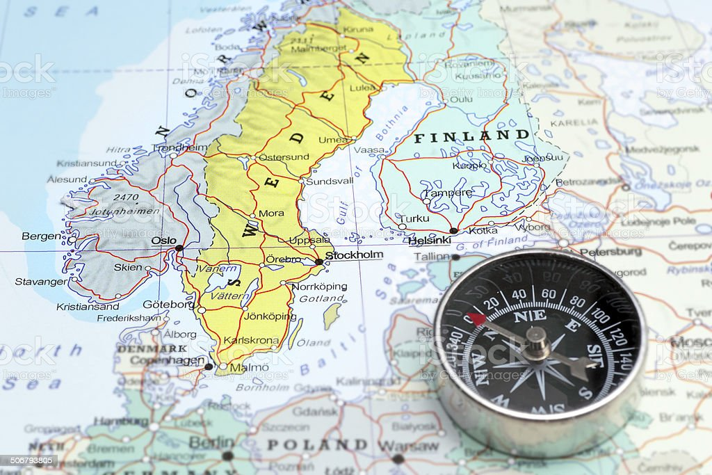 Travel destination Norway Sveden and Finland, map with compass stock photo